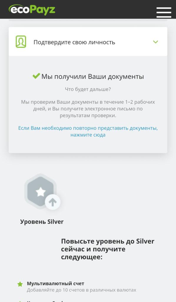 Верификация в мобильном приложении ecoPayz