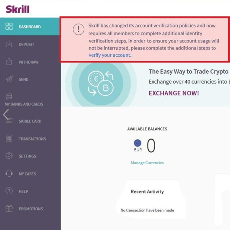 Верификация счета Skrill
