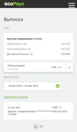 История транзакций в мобильном приложении ecoPayz