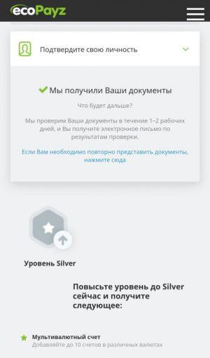 Верификация в мобильном приложении ecoPayz: сообщение о получении документов